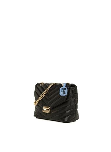 Bagmori  Kadın V Nakışlı Kilitli Mini Çanta M000006031 Siyah